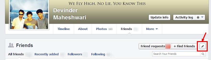 Lista de amigos de Facebook ocultar pasos