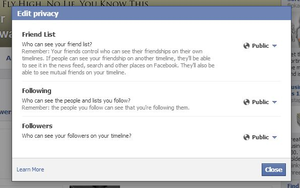 Facebook friends, followers, followings privacy settings
