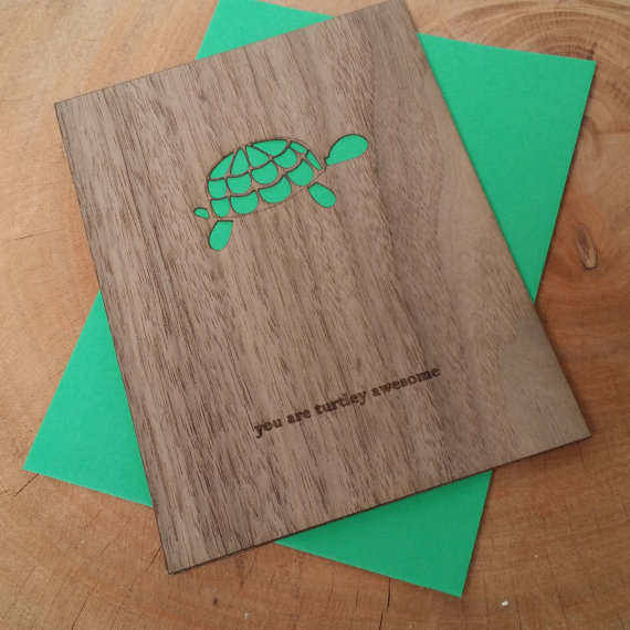 Wood Card - You Are Turtley Awesome - father's day card