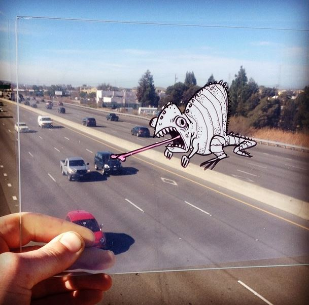 Cartoons in the real world with transparent sheet 1
