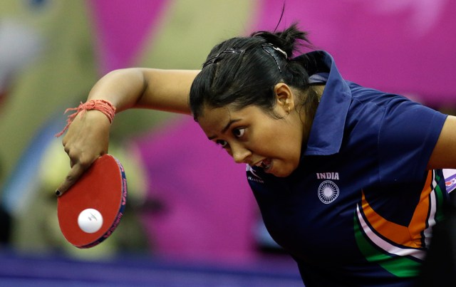 Ankita Das During Her Women's Single Table Tennis Match