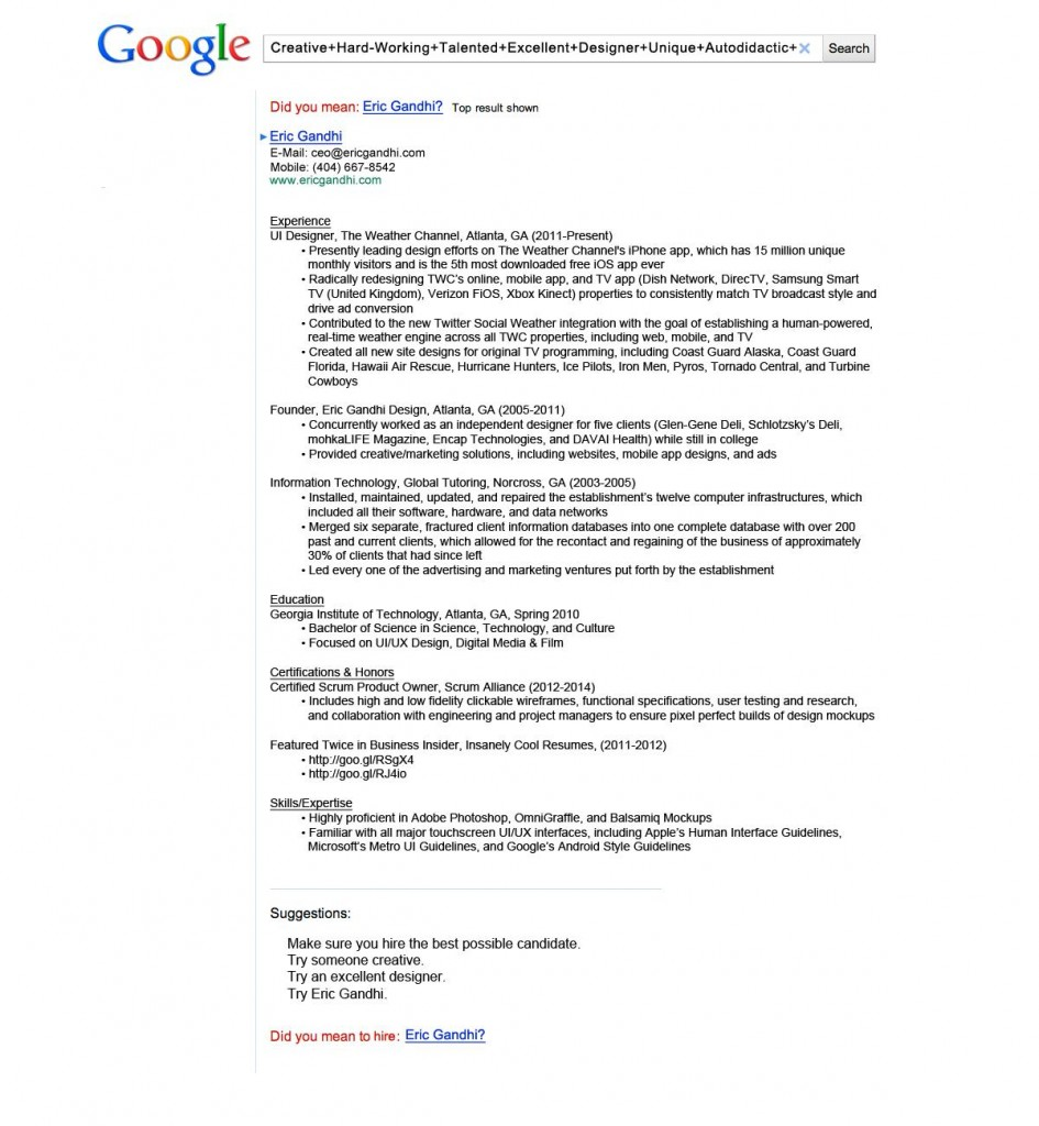 Google Resume  Most Creative Resumes
