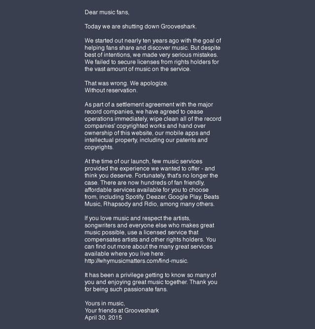 Grooveshark Homepage