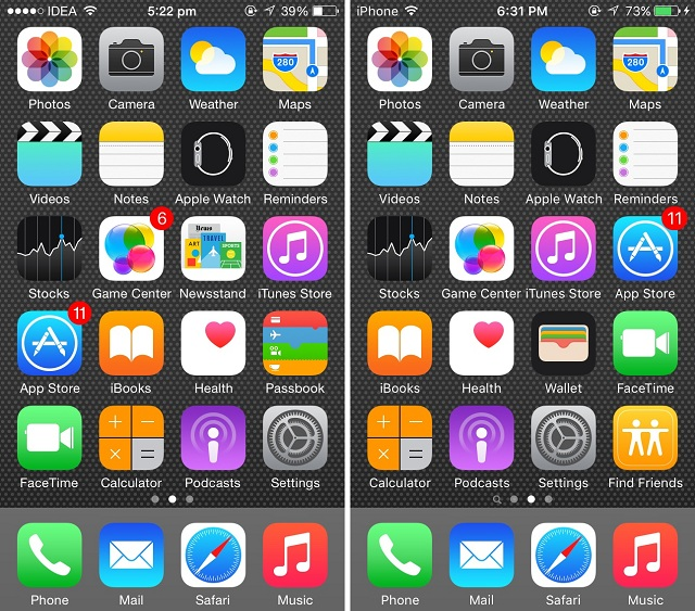 Typefaces iOS 8 vs iOS 9