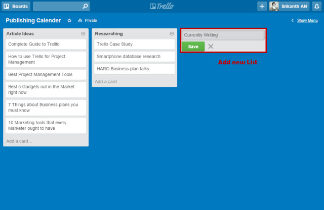Trello Add new List
