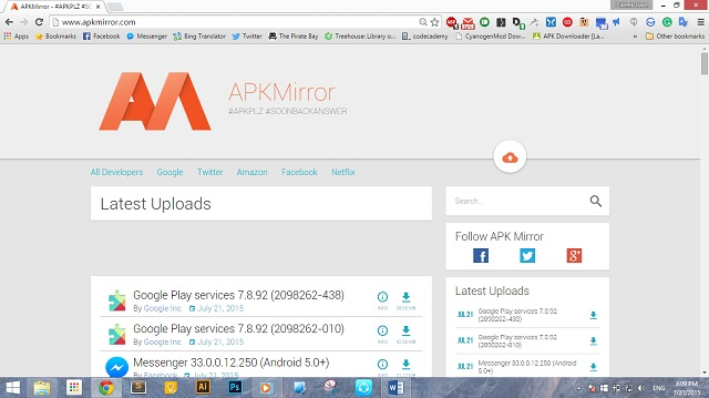 APKMirror Домашняя страница