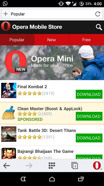 Магазин приложений Opera