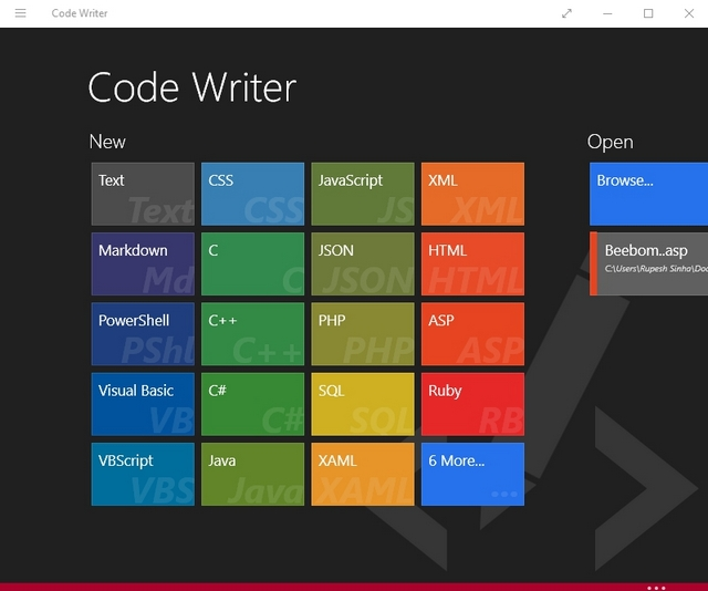 Code Writer Windows app