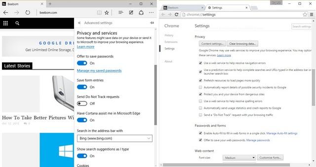 Edge vs Chrome Privacy