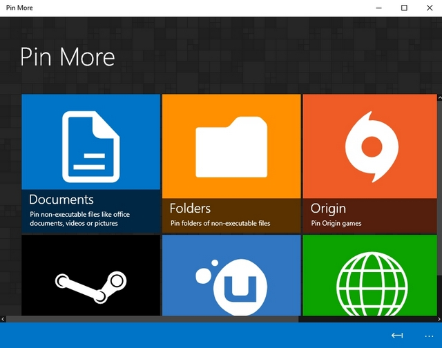 Pin More Windows 10 app