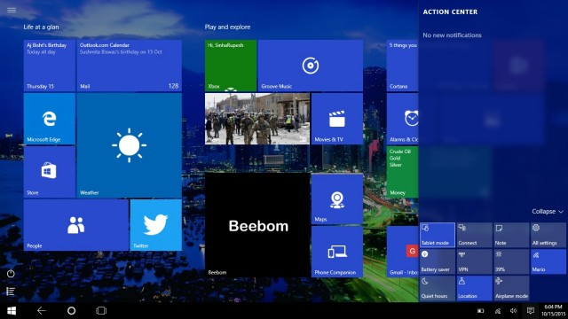 Windows 10 Start Screen Tablet mode