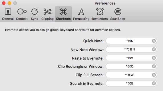 Evernote 11a - Keyboard Shortcuts
