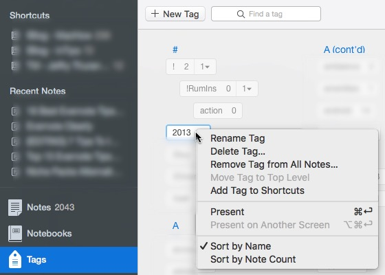 Evernote 7 - Powerful Tagging System