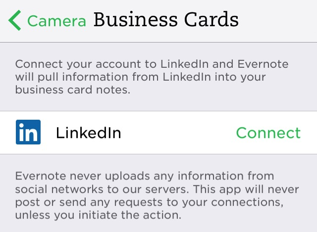 Evernote X 07d - Connect to LinkedIn