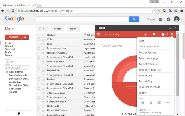 Todoist for Gmail extension
