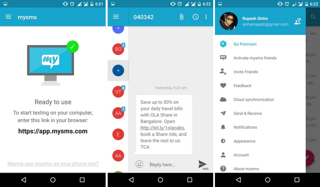 mySMS Android app