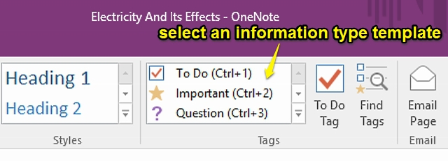 onenote information type templates