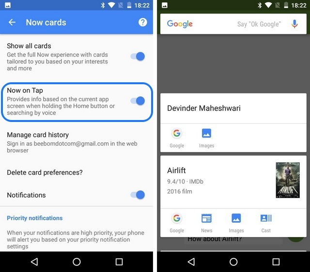 Android 6.0 Marshmallow Now on Tap