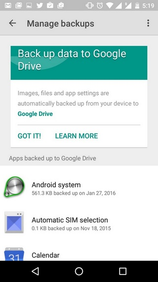 Android 6.0 Marshmallow backup app data