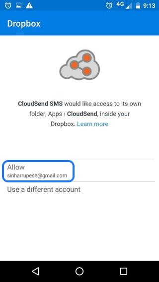 CloudSend Dropbox Permission