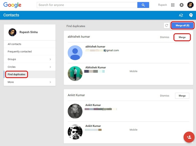 Google Contacts Merge Duplicates