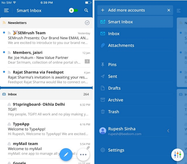 Spark email iOS app