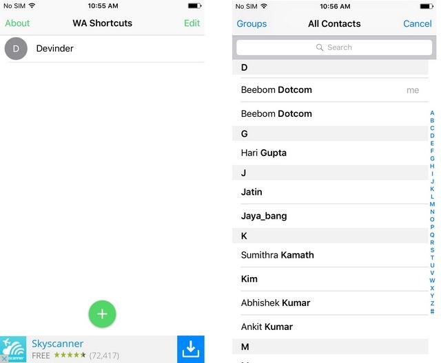 WhatsApp shortcut widget iPhone