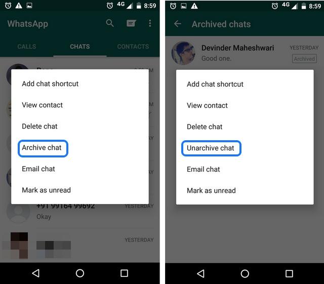 WhatsApp tricks Archive chats 1