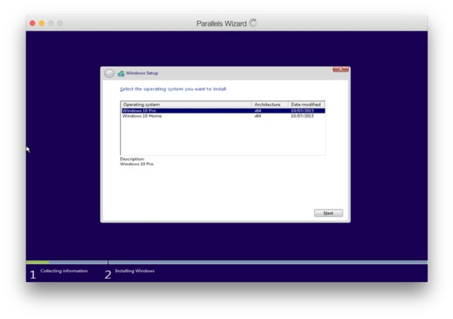 Parallels Windows Setup