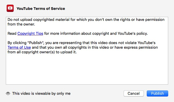 iMovie - YouTube TOS