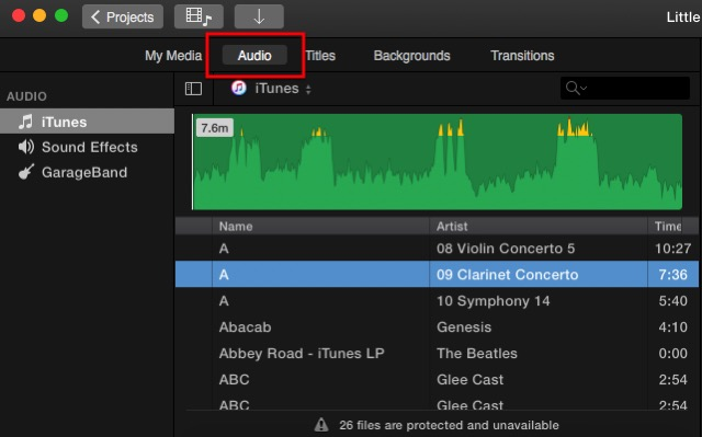 iMovie - audio media library