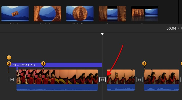 iMovie - choose inserting point