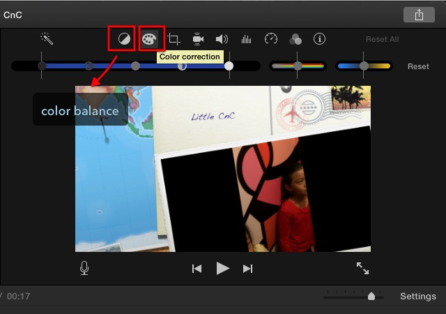 iMovie - color correction