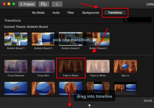 iMovie - drag transitions