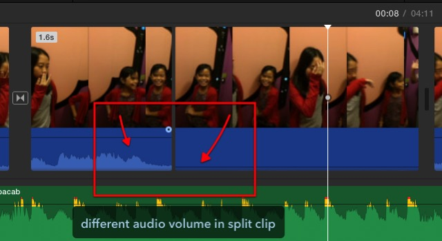 iMovie - split clip audio