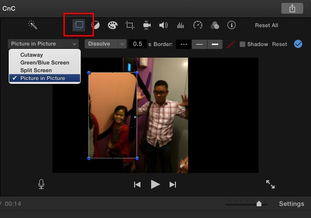 iMovie - video overlay 2