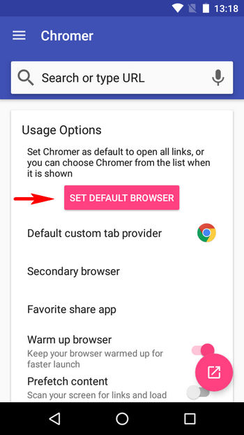 set chromer as default in app