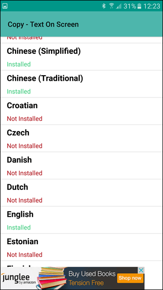 Copy Text on Screen select language