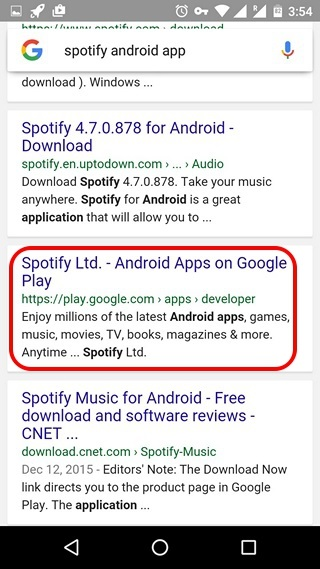 Search app from Google in Android