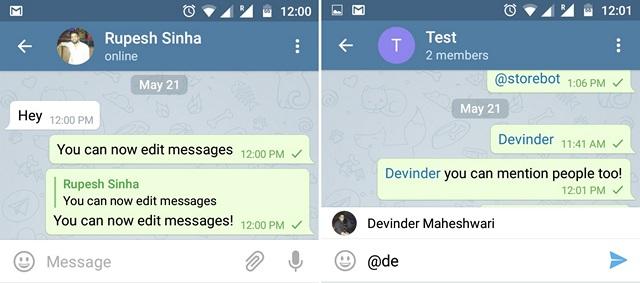 Telegram edit message mention people