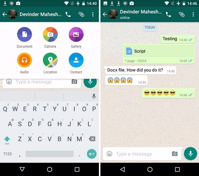 WhatsApp document sharing
