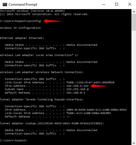 Command Prompt IP address