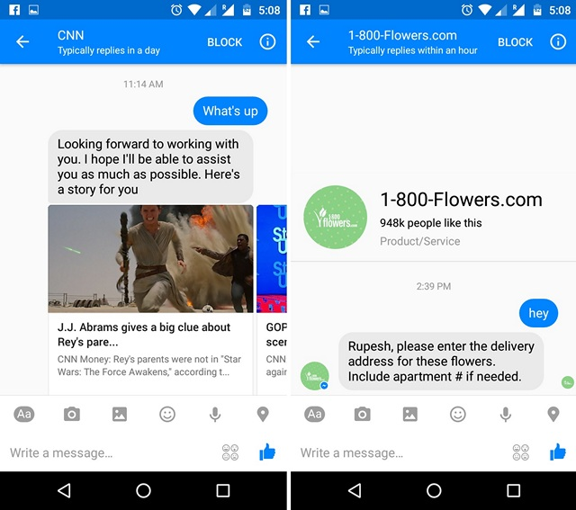 Facebook Messenger Bot chat