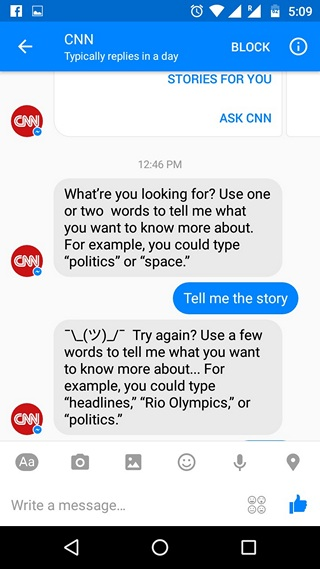 Facebook Messenger Bots conversation