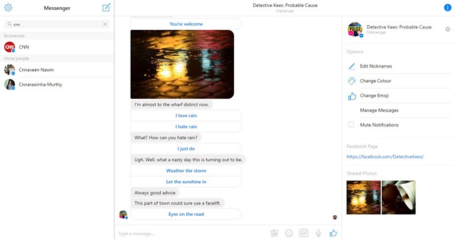 Facebook Messenger Bots web