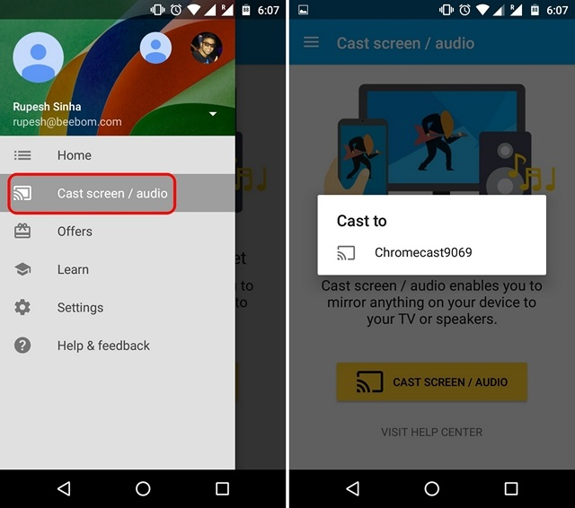 Transmisión espejo de Google Cast Kodi Chromecast