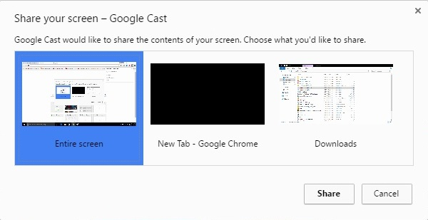 Google Cast share screen options