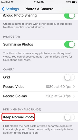 IPhone Disable Duplicate HDR