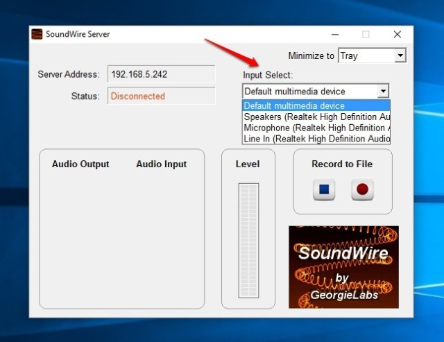 SoundWire Server Input Select