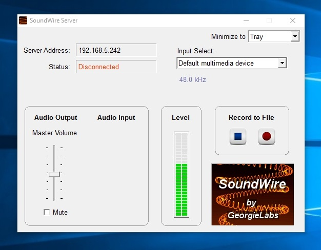 SoundWire Server Windows software music playing